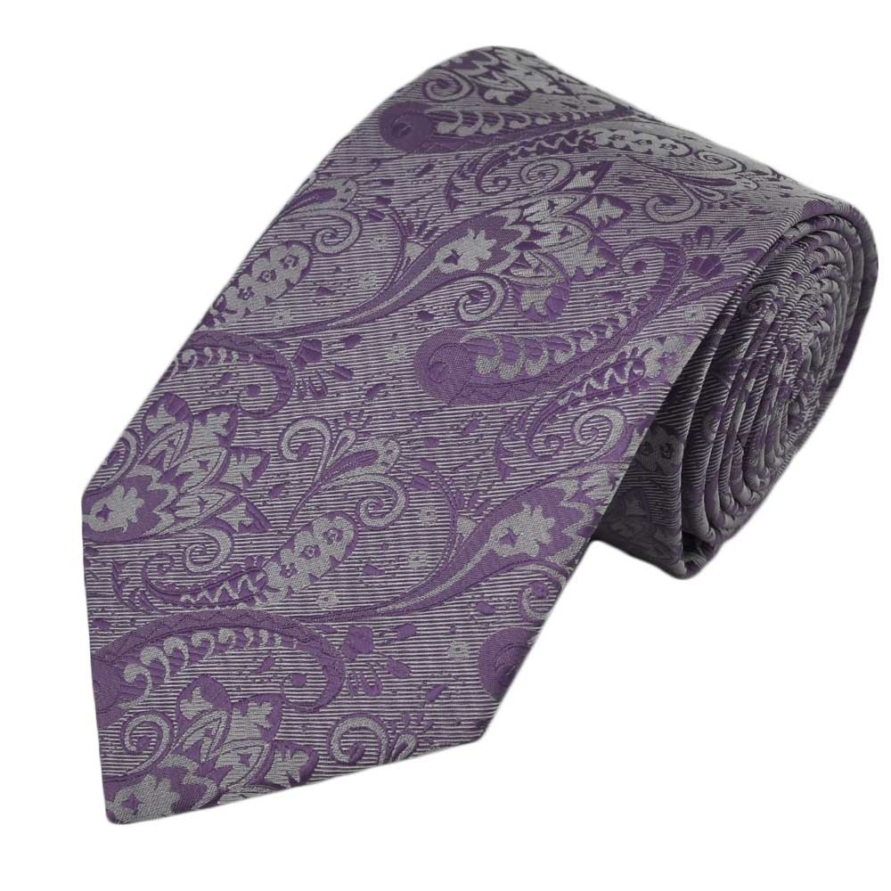 lilac silver paisley tie from ties planet uk