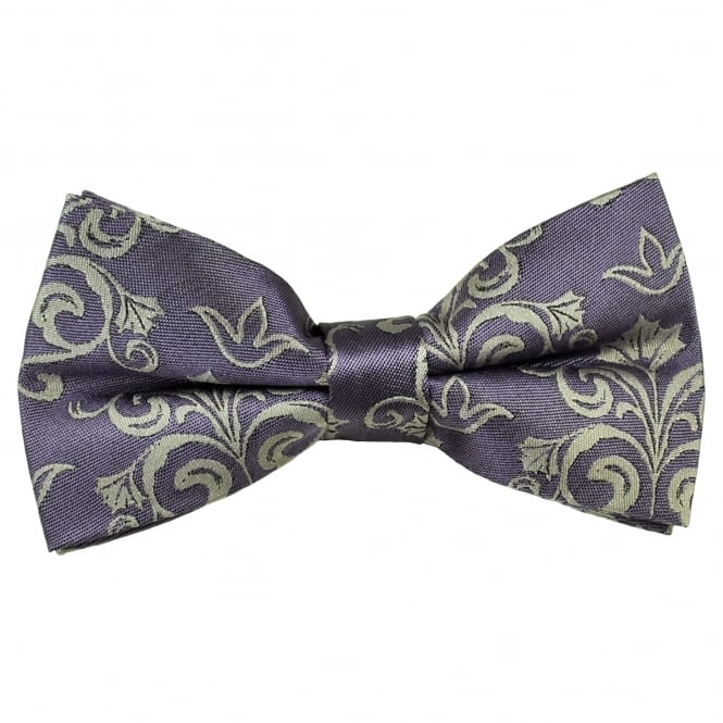 Lilac & Silver Patterned Men's Silk Bow Tie