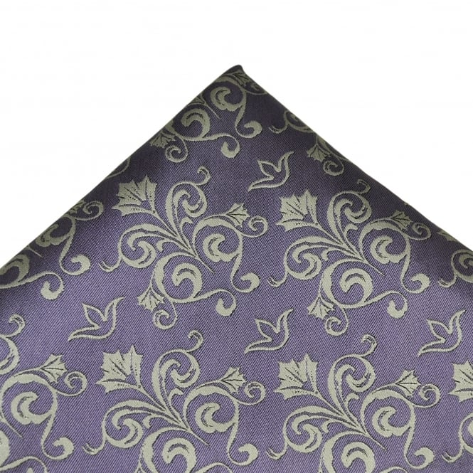 Lilac & Silver Patterned Silk Pocket Square Handkerchief