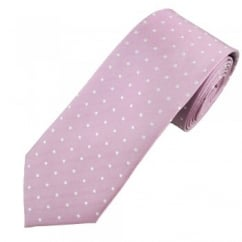 Lilac & Silver White Polka Dot Luxury Men's Silk Tie