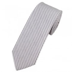 Lilac & White Striped Cotton Men's Narrow Tie