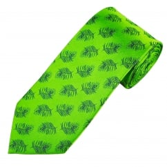 Lime Green Feather Design Men's Silk Tie