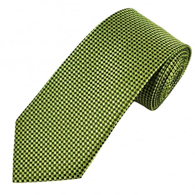 Lime Green, Green & Black Checked Pattern Men's Tie