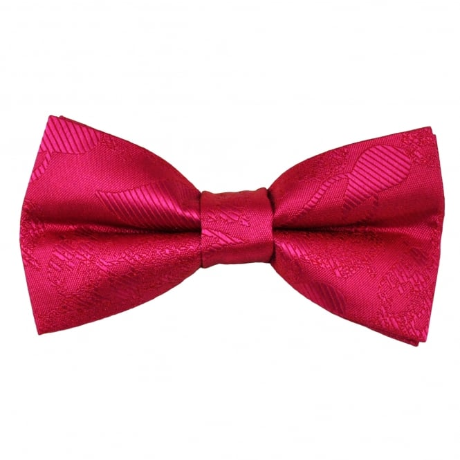Lipstick Pink Paisley Patterned Men's Bow Tie