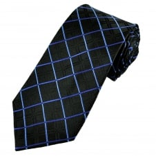 Luxury Black & Blue Diamond Patterned Silk Tie