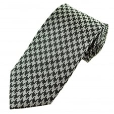 Luxury Black & Silver Houndstooth Patterned Silk Tie
