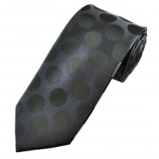 Luxury Blue & Black Large Polka Dot Silk Tie