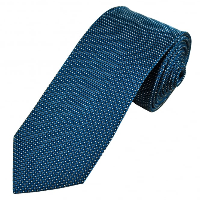 Luxury Blue, Black & White Check & Dot Patterned Silk Tie