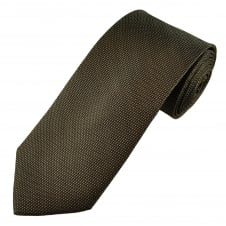 Luxury Brown & White Pin Patterned Silk Tie