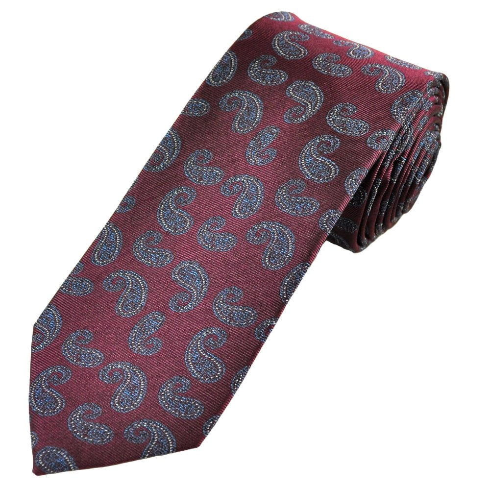 Luxury Burgundy, Blue & Silver Paisley Men's Silk Tie From
