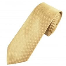 Luxury Caramel Gold & White Dashes Patterned Narrow Silk Tie