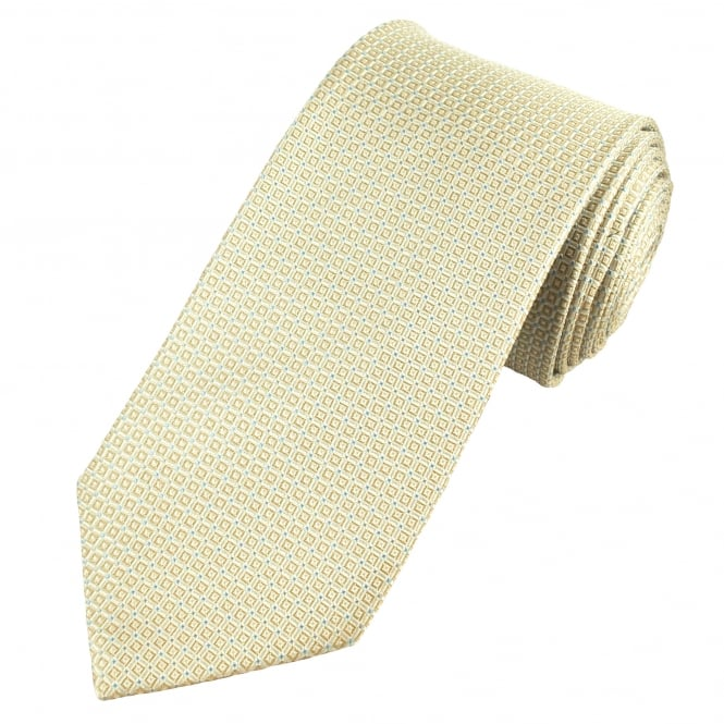 Luxury Champagne, Yellow & Blue Checked Patterned Silk Tie