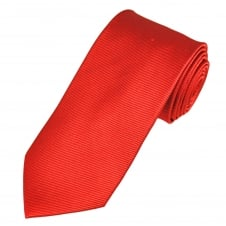 Luxury Cherry Red Diagonal Ribbed Silk Tie