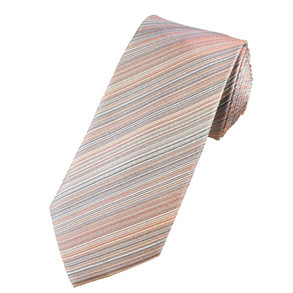 c7d96ae64354 Luxury Coral, White & Blue Striped Men's Silk Tie from Ties Planet UK