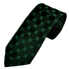 Luxury Dark Green & Black Large Polka Dot Silk Tie