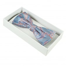 Luxury Denim Blue, Coral & Silver Paisley Patterned Men's Silk Bow Tie