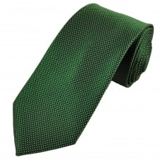 Luxury Forest Green, Black & White Check & Dot Patterned Silk Tie