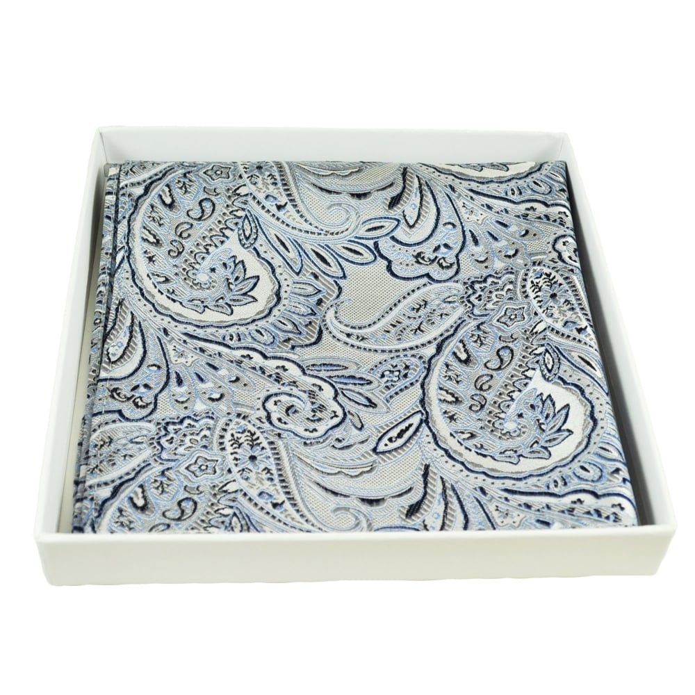 b1731d6d4431c Luxury Grey, Navy Blue & Light Blue Paisley Patterned Silk Pocket Square  Handkerchief from Ties Planet UK