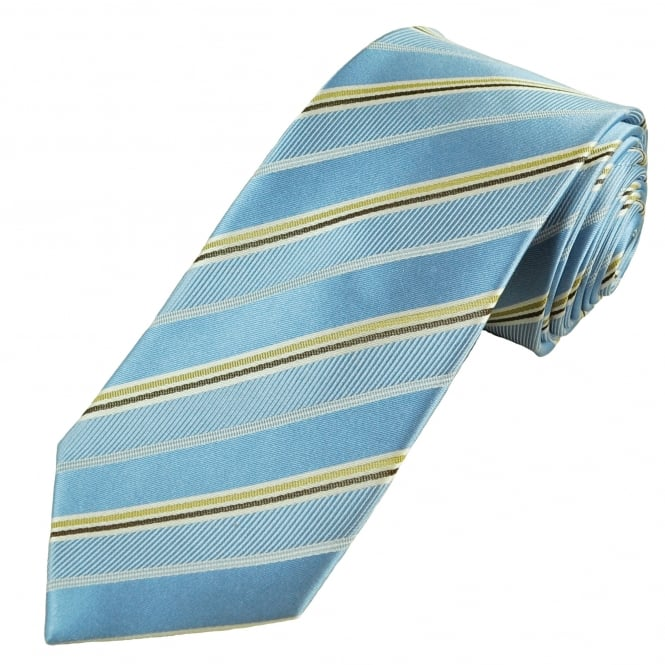 Luxury Light Blue, Beige, Brown & White Striped Silk Tie
