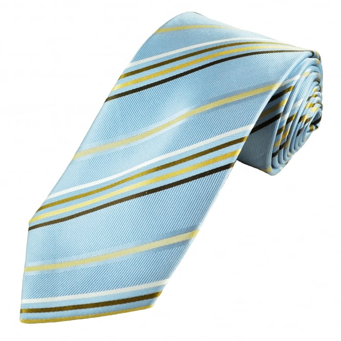 Luxury Light Blue, Gold, Brown, Beige & White Striped Silk Tie