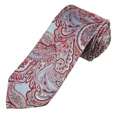 Luxury Light Blue, Red & Silver Paisley Patterned Men's Silk Tie