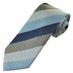 f3ecaf204214 Luxury Light Blue, Silver, Beige & Navy Striped Men's Silk Tie