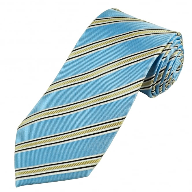 Luxury Light Blue, White, Brown & Pale Gold Striped Silk Tie