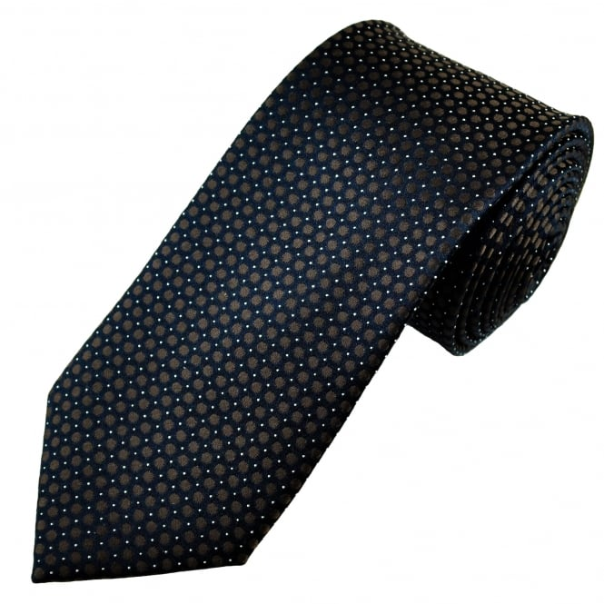 Luxury Navy Blue, Brown & White Spot Patterned Silk Tie