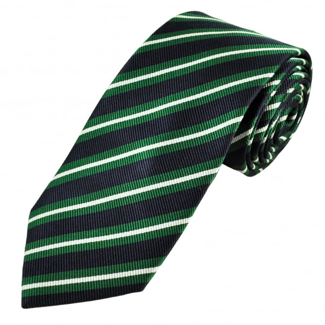 Luxury Navy Blue, Green & White Striped Silk Tie