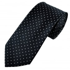 Luxury Navy Blue & White Polka Dot Spot Patterned Silk Tie