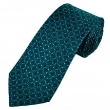 Luxury Petrol Blue Square Patterned Silk Tie