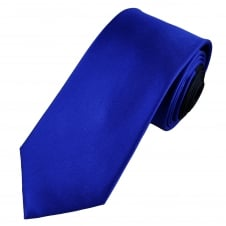 Luxury Plain Royal Blue Horizontal Weave Silk Tie with Navy Tail