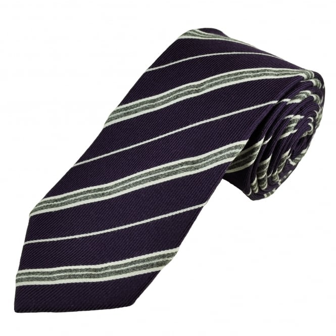 Luxury Purple & Silver Striped Silk Tie