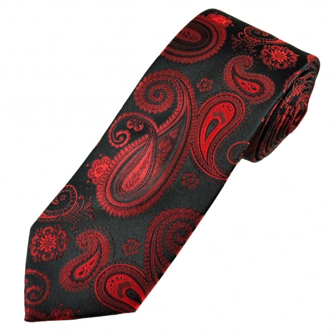 Luxury Red & Black Large Paisley Patterned Silk Tie