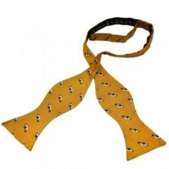 Luxury Self Tie Men's Bow Tie - Gold With Silver Vintage Racing Car