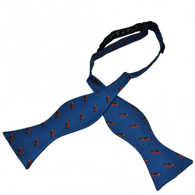Luxury Self Tie Men's Bow Tie - Royal Blue With Red Vintage Racing Car