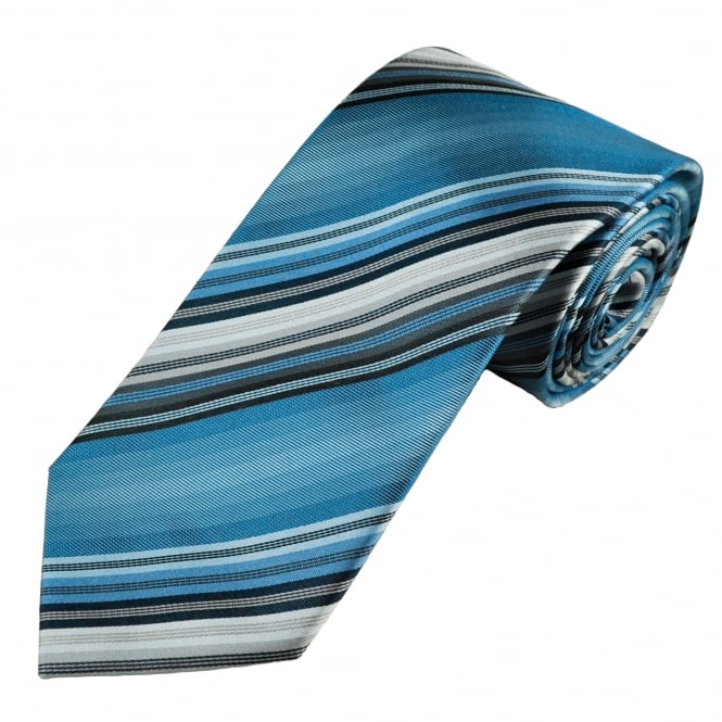 Luxury Shades of Blue & Grey Striped Silk Tie