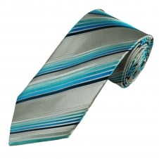 Luxury Silver Grey, Navy & Shades of Blue Striped Silk Tie