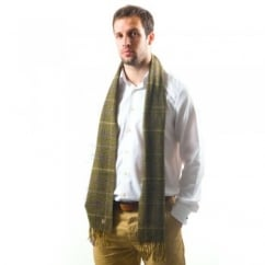 Lyle and Scott Bedale Green Check Lambswool Scarf