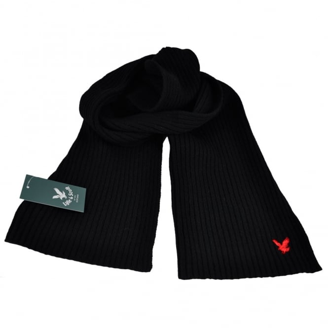 Lyle and Scott Black with Red Eagle Ribbed Scarf