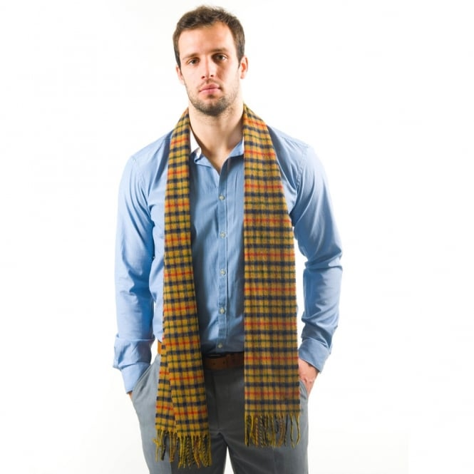 Lyle and Scott Blue & Camel Check Lambswool Scarf