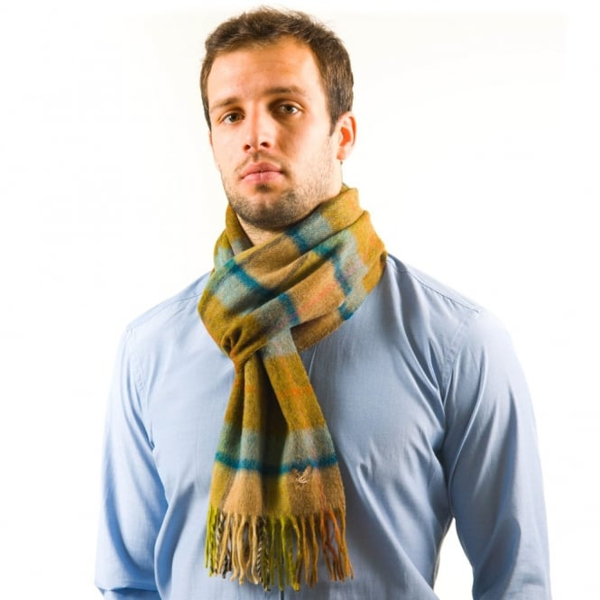 Lyle and Scott Dent Heather Blue Check Lambswool Scarf