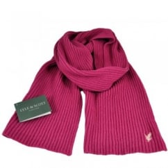 Lyle and Scott Fuchsia with Pink Eagle Ribbed Scarf