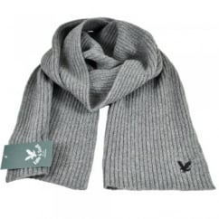 Lyle and Scott Grey with Black Eagle Ribbed Scarf