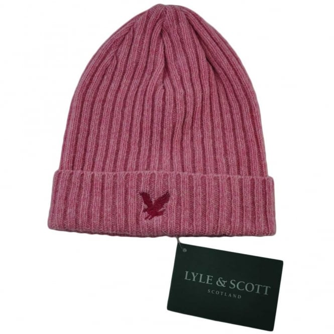 Lyle and Scott Light Pink Ribbed Beanie Hat