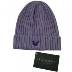 Lyle and Scott Lilac Ribbed Beanie Hat
