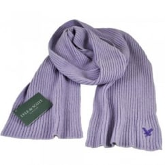 Lyle and Scott Lilac with Purple Eagle Ribbed Scarf