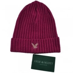 Lyle and Scott Lipstick Pink Ribbed Beanie Hat