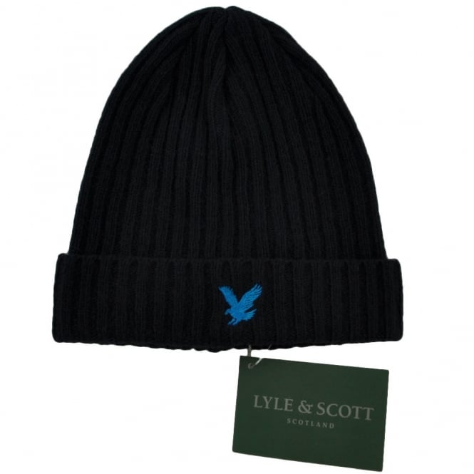 51f35af55 Lyle and Scott Navy with Electric Blue Eagle Ribbed Beanie Hat