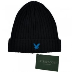 Lyle and Scott Navy with Electric Blue Eagle Ribbed Beanie Hat